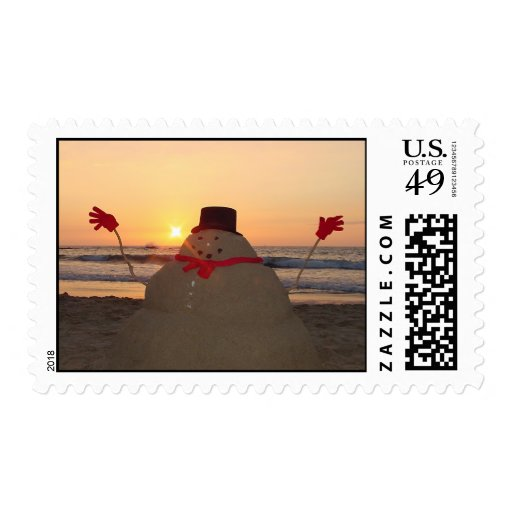 Tropical Snowman Postage Stamps