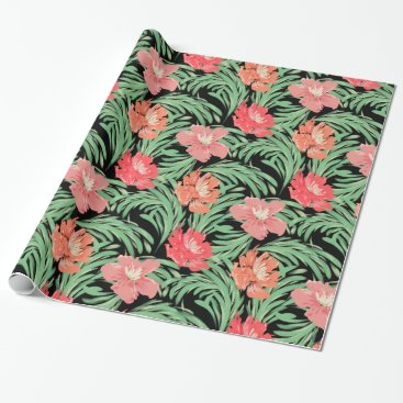 Beach Themed Tropical Soiree Watercolor Botanical Pattern Wrapping Paper