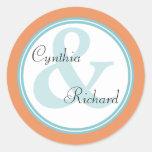 Tropical Spa Bride Groom Monogram Wedding Stickers