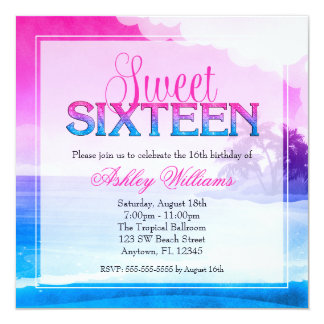 Tropical Sparkle Pink Blue Sweet 16 Custom Announcements