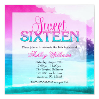 Tropical Sparkle Pink Teal Sweet 16 Card