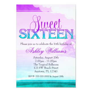 Tropical Sparkle Purple Aqua Sweet 16 Card