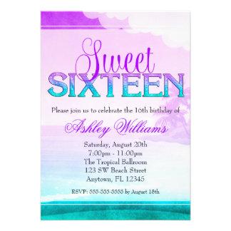 Tropical Sparkle Purple Aqua Sweet 16 Personalized Invitations
