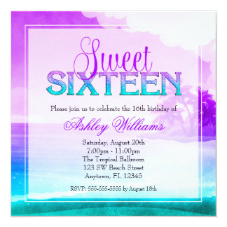 Tropical Sparkle Purple Aqua Sweet 16 5.25x5.25 Square Paper Invitation Card