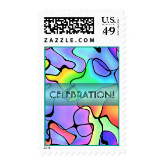 Tropical Splashes Celebration Customizable Text Postage Stamp