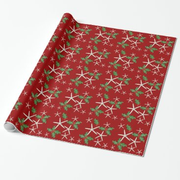 Christmas Themed Tropical Starfish and Holly Red Christmas Paper