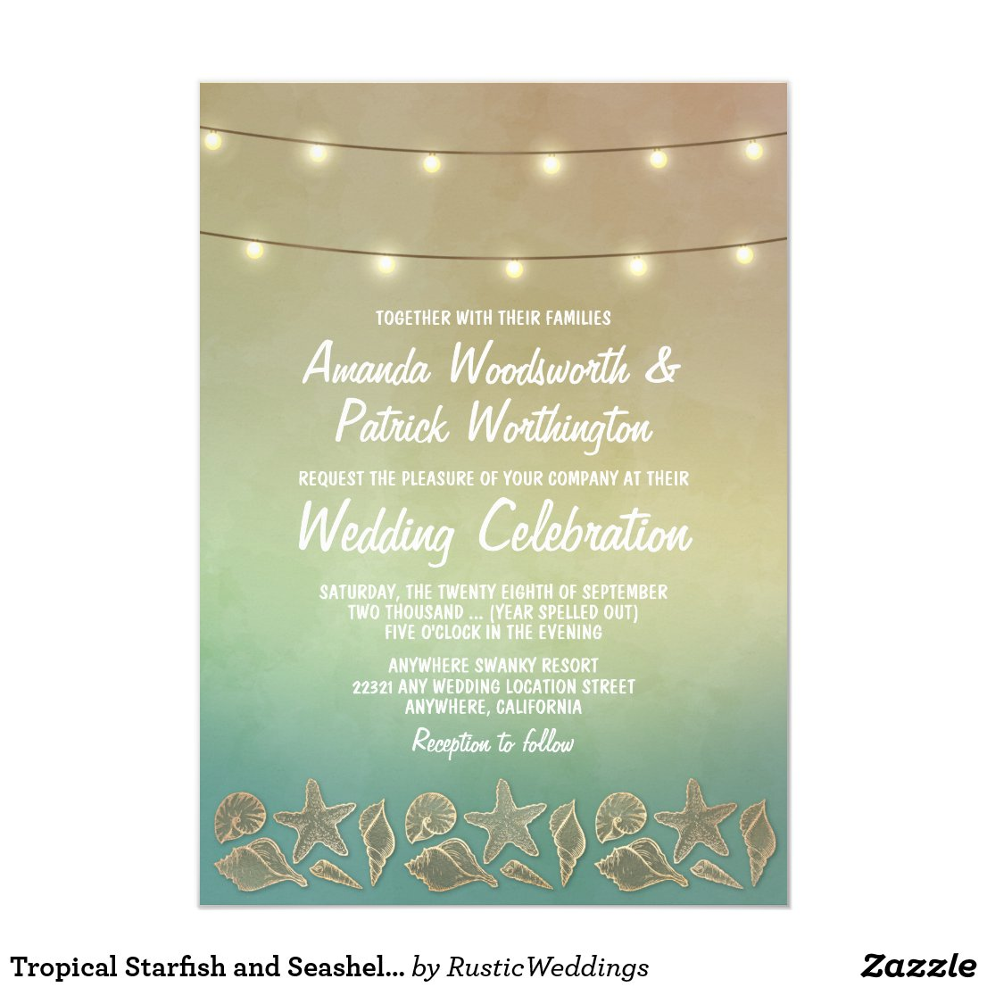 Tropical Starfish and Seashell Wedding Invitations