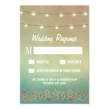 Tropical Starfish and Seashell Wedding RSVP Cards