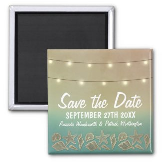 Tropical Starfish Beach Seashell Save the Date Magnet