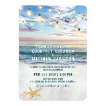 Tropical Starfish Couple Pineapple Beach Wedding Invitation