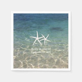 Tropical Starfish Custom Name Beach Wedding Napkin