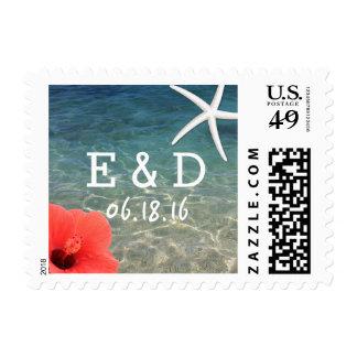 Tropical Starfish & Hibiscus Beach Wedding Stamps