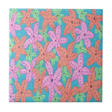 Beach Themed Tropical Starfish Pattern Ceramic Tile