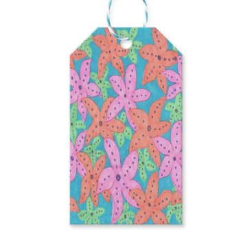 Beach Themed Tropical Starfish Pattern Gift Tags