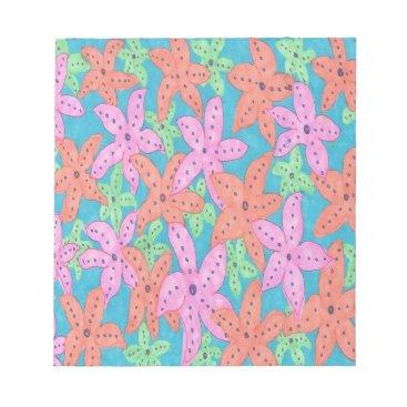 Beach Themed Tropical Starfish Pattern Notepad