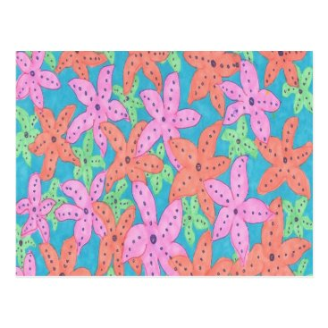 Beach Themed Tropical Starfish Pattern Postcard