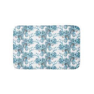 Tropical Starfish Shells Coral Blue White Silver Bath Mat