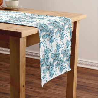 Tropical Starfish Shells Coral Blue White Silver Short Table Runner