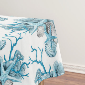Tropical Starfish Shells Coral Blue White Silver Tablecloth