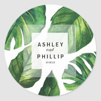 Tropical Sticker, palm tree, Beach Wedding Classic Round Sticker