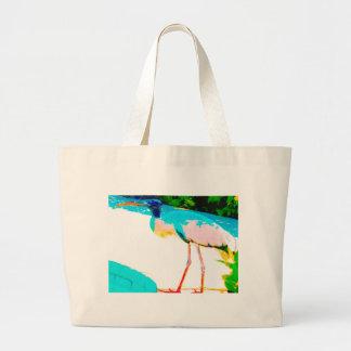Tropical stork graphic theme tote bag