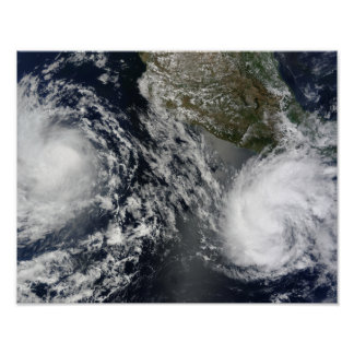 Tropical Storms Blas and Celia Poster
