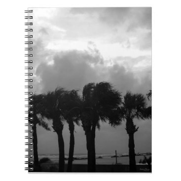 Beach Themed Tropical Stormy Skies Grayscale Notebook