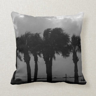 Tropical Stormy Skies Grayscale Throw Pillow