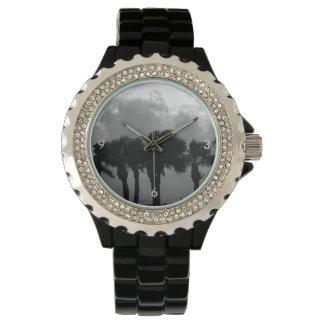 Tropical Stormy Skies Grayscale Wristwatch