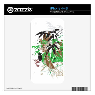 tropical style abstract bamboo design decal for iPhone 4S
