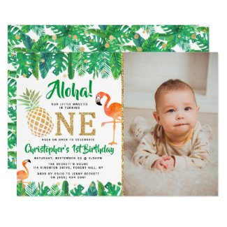Tropical Summer Beach Luau Boys Photo 1st Birthday Invitation