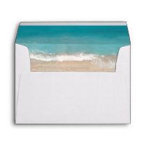 Tropical Summer Beach Wedding with Return Address Envelope