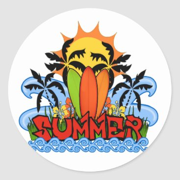 Beach Themed Tropical summer classic round sticker