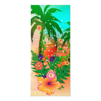 Tropical summer design 4x9.25 paper invitation card