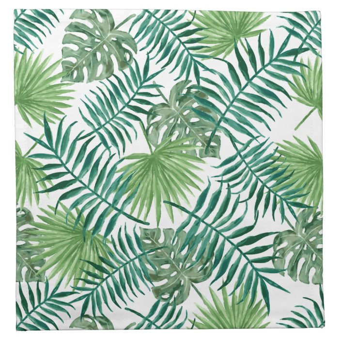 Tropical Summer Exotic Botanic Palm Tree Leaves Cloth Napkin Zazzle Com