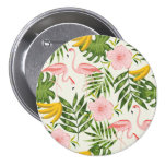 Tropical Summer Flamingo Round Button