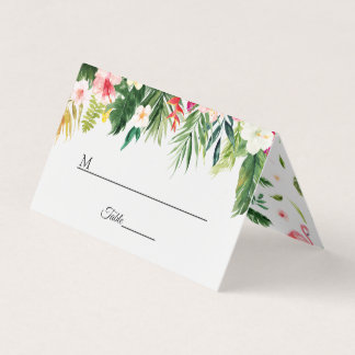 Tropical Summer Floral Wedding Table Place Card