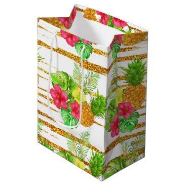 Beach Themed Tropical Summer glitter Medium Gift Bag
