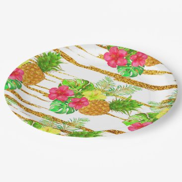 Beach Themed Tropical Summer Glitter Paper Plate