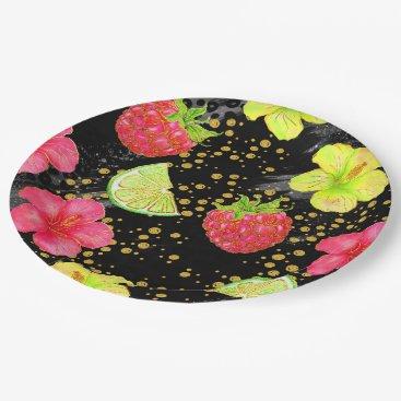 Beach Themed Tropical Summer Glitter Paper Plate