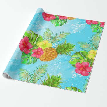Beach Themed Tropical Summer Glitter Wrapping Paper