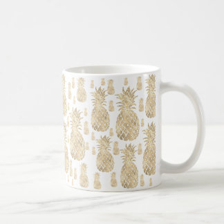 tropical summer golden pineapples coffee mug