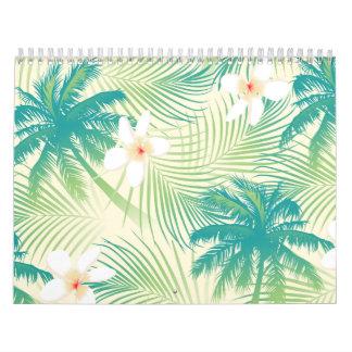 Tropical summer palm trees calendar