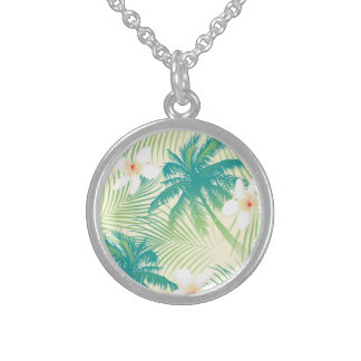 Tropical summer palm trees sterling silver necklace