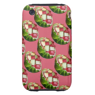 Tropical Summer Picnic Fruit Salad Pink Pattern iPhone 3 Tough Cases