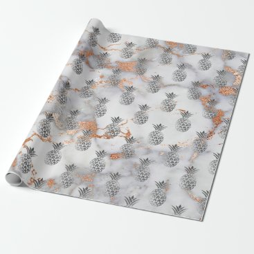 Beach Themed Tropical summer pineapple fruit gray copper marble wrapping paper