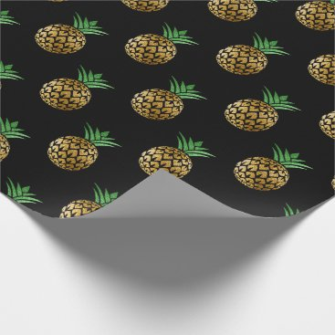 Beach Themed Tropical summer pineapple fruit green black gold wrapping paper