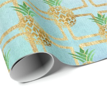 Beach Themed Tropical summer pineapple gray fruit peach gold wrapping paper
