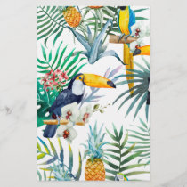 Tropical summer Pineapple Parrot Bird watercolor