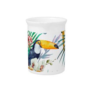Tropical summer Pineapple Parrot Bird watercolor Beverage Pitcher